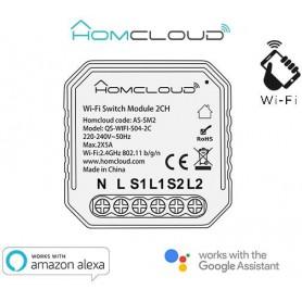 Modulo Interruttore Intelligente Wi-Fi 2 canali da incasso