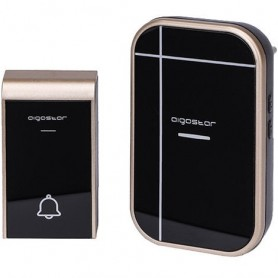 CAMPANELLO SENZA FILI WIRELESS DIGITALE IP44 PORTE CASA UFFICIO AIGOSTAR NERO-ORO