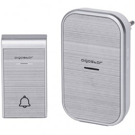CAMPANELLO SENZA FILI WIRELESS DIGITALE IP44 PORTE CASA UFFICIO AIGOSTAR SILVER