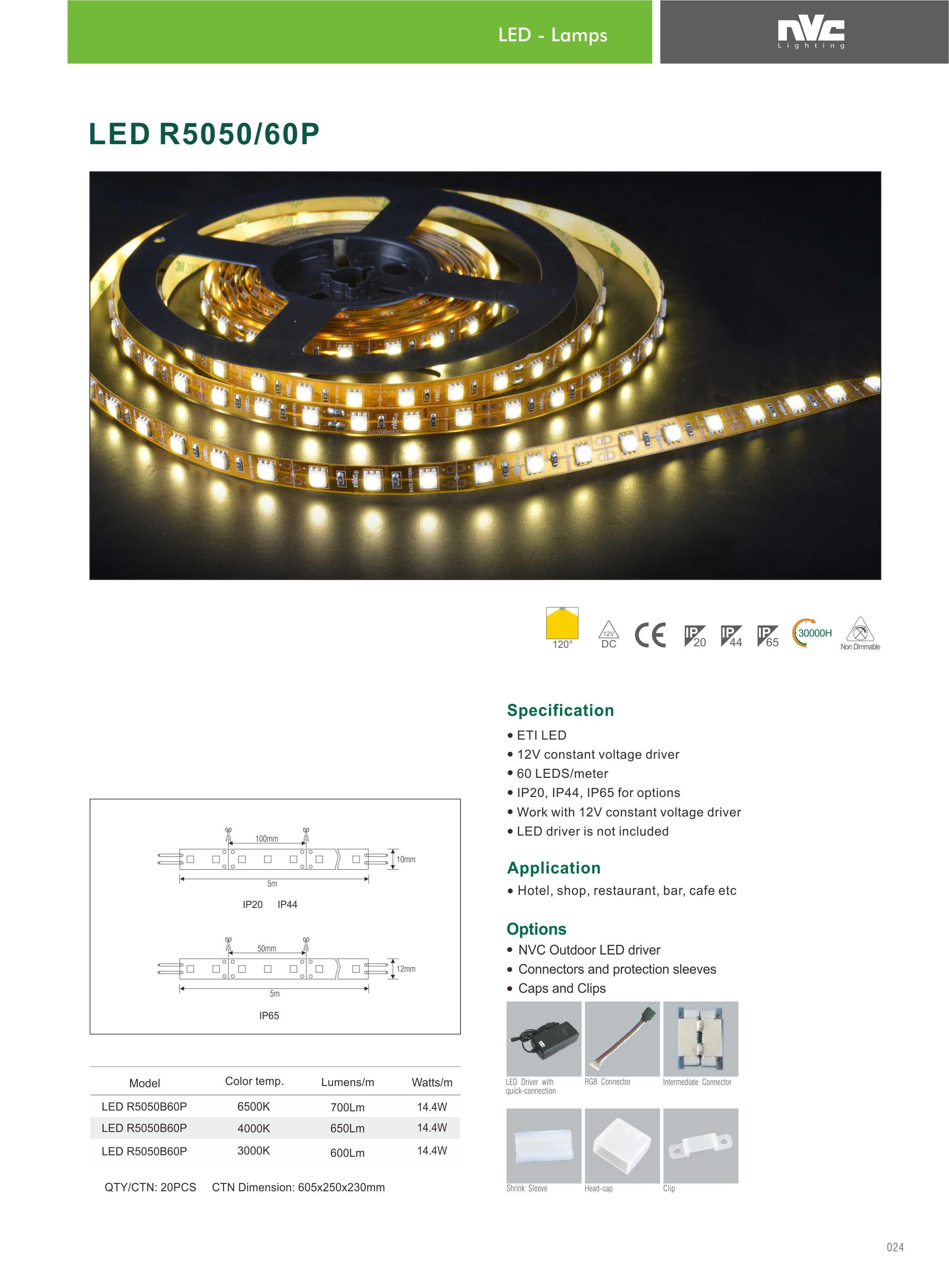 NVC Striscia LED 14.4W-3000K/IP65/12V-700LM